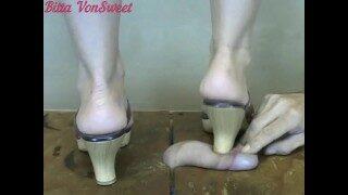 Mature MILF Stomps Cock under her Heels till it CUMs CBTrample Bitta VonSweet Footjob and Cock Crush