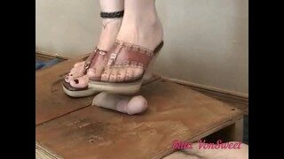 MATURE MILF TRAMPLES FOOTSLAVES COCK WITH HER HEELS TEACHING HIM HE IS GODDESSES FOOTBOY + CBTRAMPLE