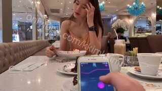 My friend make me orgasm in public cafe by using remote control toy – LUST2