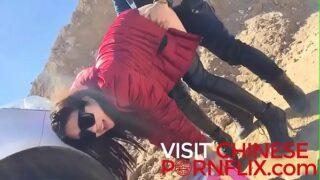 Chinese playboy bangs his leggy girlfriend on his car